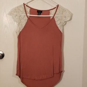 Plum colored shirt with lace sleeves